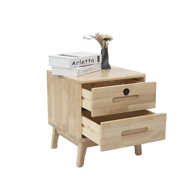 Guub国保 创意床头柜带指纹锁 北欧实木简约床边收纳柜