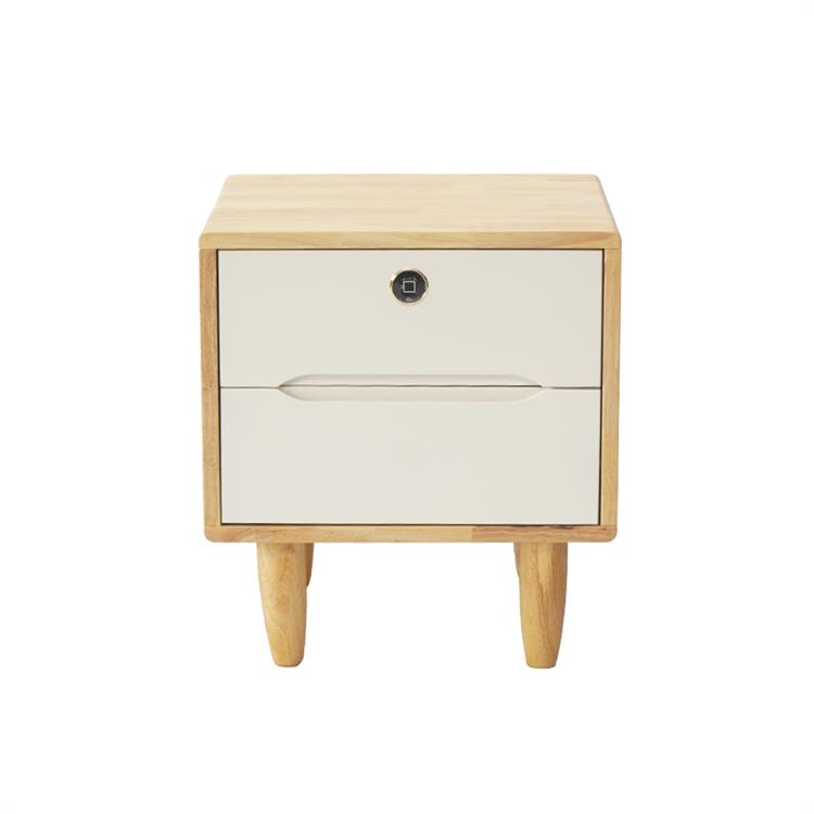 Guub国保 指纹锁实木床头柜卧室智能指纹锁储物柜原白色50CM