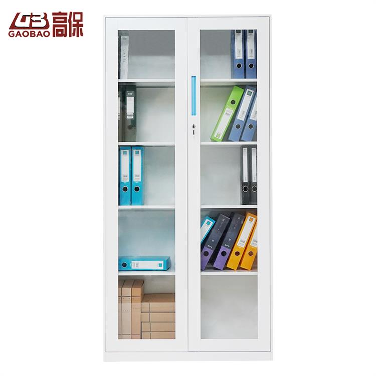 國保機械鎖玻璃雙門書柜WB-2  白色  W900*D400*H1850