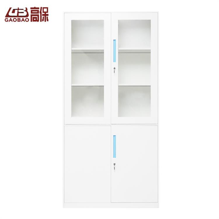 國保機械鎖玻璃四門書柜WB-4 白色W900*D400*H1850